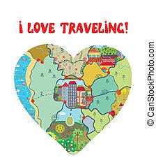 corazón, amor, divertido, viaje, mapa, tarjeta