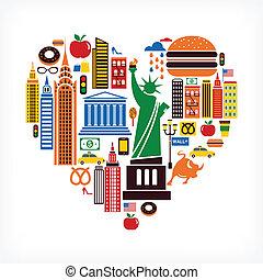 corazón, amor, iconos, muchos, -, forma, vector, york, nuevo