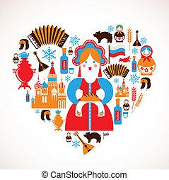 corazón, amor, iconos, -, vector, rusia