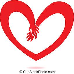 corazón, amor, manos