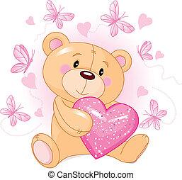 corazón, amor, oso, teddy
