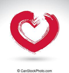 corazón, amor, señal, mano, cepillo, icono, dibujado, dibujo, rojo, amoroso