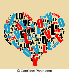 corazón, amor, tipografía, retro