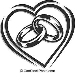 corazón, anillo, boda