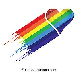corazón, arco irirs, tinta