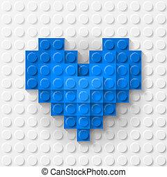 Corazón azul hecho de kit de construcción