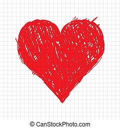 corazón, bosquejo, forma, diseño, su, rojo