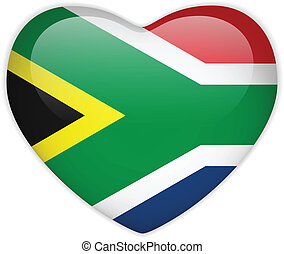 corazón, botón, áfrica, bandera, brillante, sur