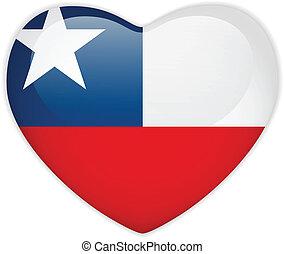 corazón, botón, bandera, chile, brillante