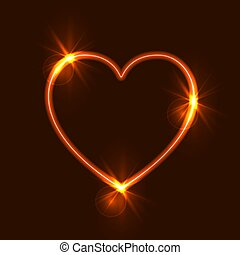 Corazón brillante Vector, alambre al rojo vivo, ilustración brillante.