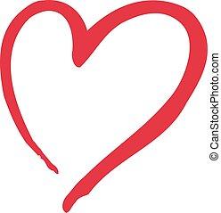 corazón, caligraphy, icono