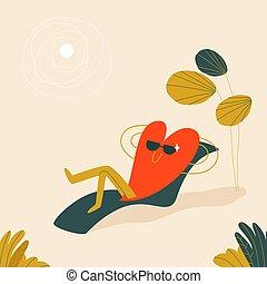 corazón, carácter, lounger, blanco, árbol, rojo, ilustración, descansar, playa., debajo, style., sun., luz sol, mentiras, vector, forma, caricatura, gafas de sol, palma, arenoso, lindo
