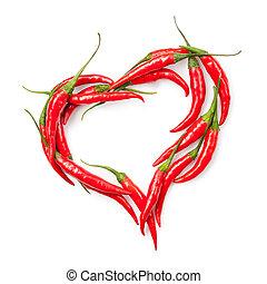 corazón, chile, aislado, pimienta, blanco