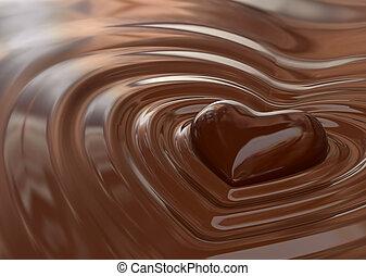 corazón, chocolate