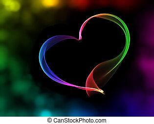 Corazón colorido con luces bokeh
