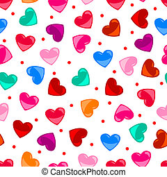 corazón, colorido, patrón, encima, seamless, forma, negro, diversión