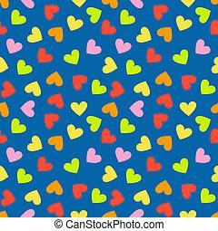 corazón, colorido, vendimia, aleatorio, seamless, pauta fondo
