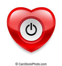 Corazón con botón de powe