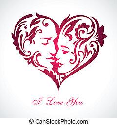 Corazón con caras ocultas besándose