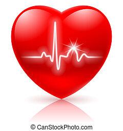 Corazón con cardiograma.