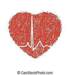 Corazón con cardiograma. EPS 8