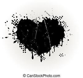 Corazón con forma de tinta grungy