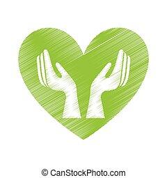 Corazón con manos de icono humano