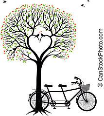 Corazón con pájaros y bicicleta