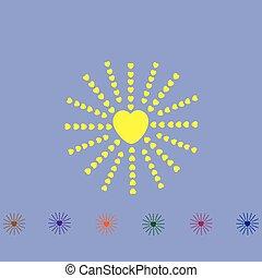 Corazón con rayos como el sol