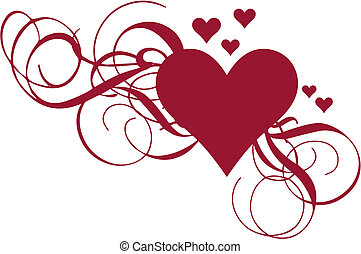 Corazón con remolinos, vector