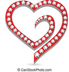 Corazón con vector de logo de diamantes