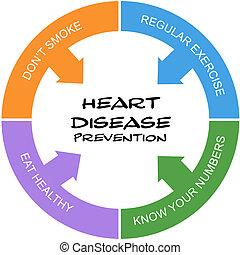 corazón, concepto, palabra, enfermedad, garabatear, círculo, prevención