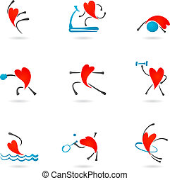 corazón, condición física, iconos