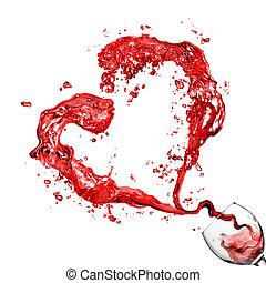 corazón, copa, el verter, aislado, vidrio, rojo blanco, vino