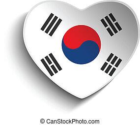 corazón, corea, pegatina, bandera, papel, sur