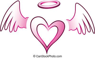 Corazón de ángel y alas