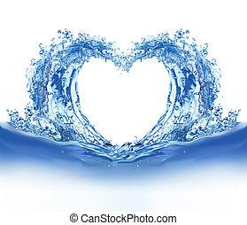 Corazón de agua azul