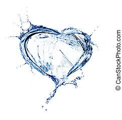 Corazón de agua salpicada