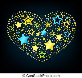 Corazón de color estrella de dibujos animados