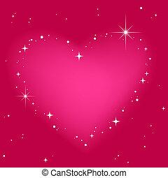 Corazón de estrella en el cielo rosa