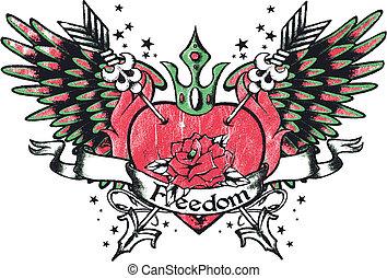 Corazón de la realeza tribal con alas