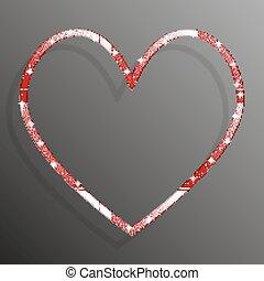 Corazón de lentejuelas rojas. Brilla, brilla.