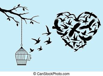 Corazón de pájaro volador, vector