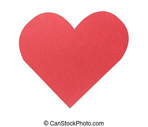 Corazón de papel rojo aislado en el fondo blanco