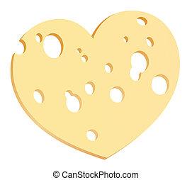 Corazón de rodaja de queso