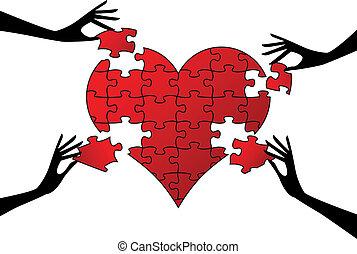 Corazón de rompecabezas rojo con manos, vector