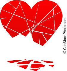 Corazón de San Valentín roto cae en pedazos