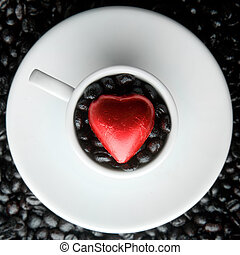 Corazón de taza de café