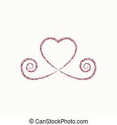 Corazón decorativo icono blanco rojo. Logo de Glitter, símbolo de amor con una sombra en un fondo blanco. Usa la decoración, el diseño, el emblema. Ilustración de vectores.