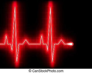 corazón, ekg, graph., eps, beat., 8, rojo